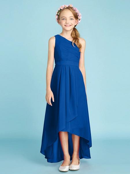 A-Line One Shoulder Asymmetrical Chiffon Junior Bridesmaid Dress With Sash / Ribbon / Bow(S) / Side Draping / Natural_37