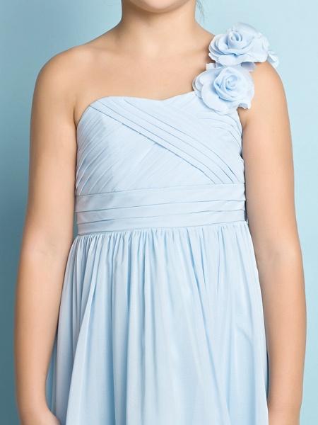 A-Line One Shoulder Asymmetrical Chiffon Junior Bridesmaid Dress With Criss Cross / Flower / Natural / Mini Me_9