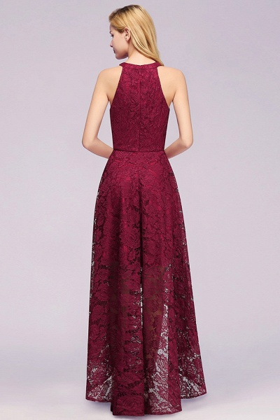 Burgundy Halter Sleeveless Sheath Lace Dresses_5