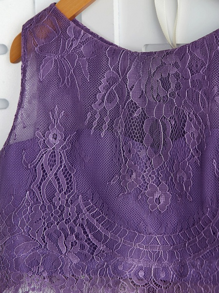 Two Piece / A-Line Crew Neck Maxi Chiffon / Lace Junior Bridesmaid Dress With Lace / Pleats_8