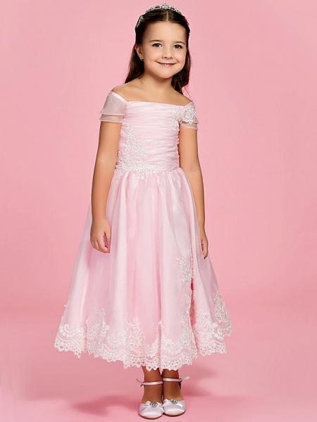 Princess / A-Line Ankle Length First Communion / Wedding Party Organza Short Sleeve Bateau Neck / Off Shoulder With Bow(S) / Ruched / Appliques / Spring / Summer / Fall_1