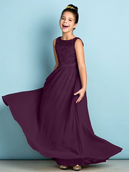 A-Line Scoop Neck Floor Length Chiffon / Lace Junior Bridesmaid Dress With Lace / Natural / Mini Me_18