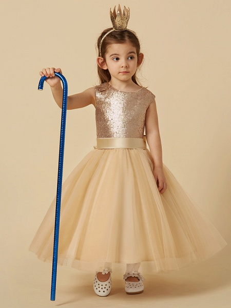 Princess Ankle Length Pageant Flower Girl Dresses - Tulle / Sequined Sleeveless Jewel Neck With Sash / Ribbon / Bow(S)_3