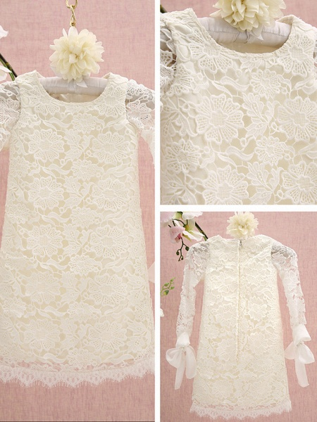 Sheath / Column Knee Length Holiday Flower Girl Dresses - Lace Long Sleeve Jewel Neck With Lace_2