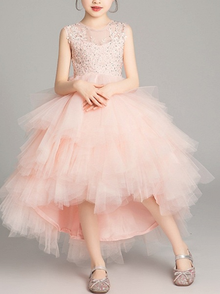 A-Line Asymmetrical Pageant Flower Girl Dresses - Tulle Sleeveless Jewel Neck With Tier / Appliques / Crystals / Rhinestones_2