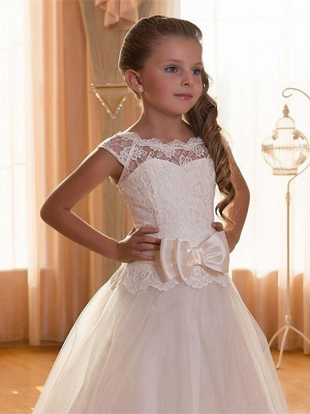 Ball Gown Maxi Wedding / Birthday / Pageant Flower Girl Dresses - Chiffon / Tulle / Cotton Cap Sleeve Jewel Neck With Lace / Sash / Ribbon / Solid_3