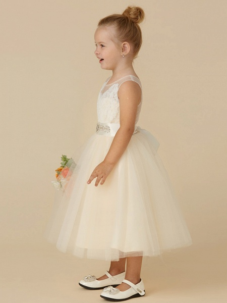 Princess Tea Length Wedding / Birthday / Pageant Flower Girl Dresses - Lace / Tulle Sleeveless Illusion Neck With Sash / Ribbon / Beading / Appliques_3