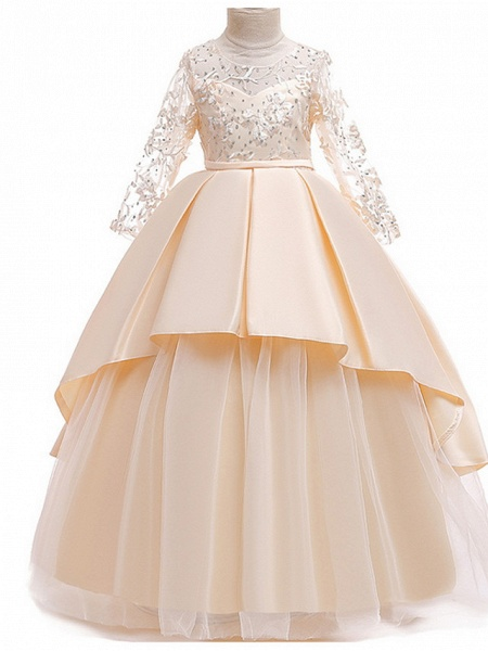 Ball Gown Floor Length Pageant Flower Girl Dresses - Polyester Long Sleeve Jewel Neck With Ruffles / Tier / Appliques_2