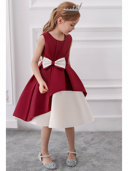 Princess / A-Line Knee Length Wedding / Party Flower Girl Dresses - Mikado Sleeveless Jewel Neck With Bow(S) / Tiered_2
