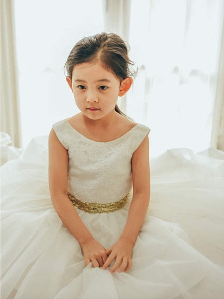 Ball Gown Tea Length Wedding / First Communion / Birthday Flower Girl Dresses - Lace / Tulle Sleeveless Jewel Neck With Bows / Belt_3