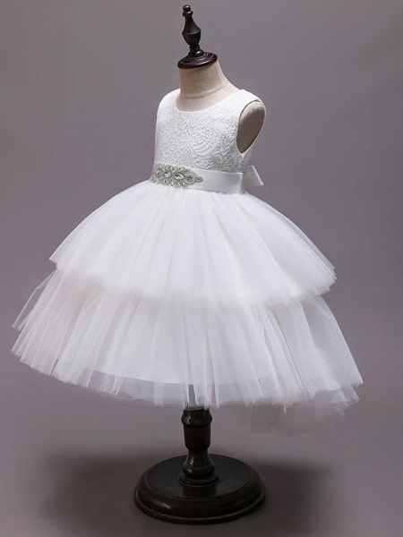 Princess Asymmetrical Wedding / Party / Pageant Flower Girl Dresses - Satin / Tulle Sleeveless Jewel Neck With Belt / Crystals / Rhinestones_6