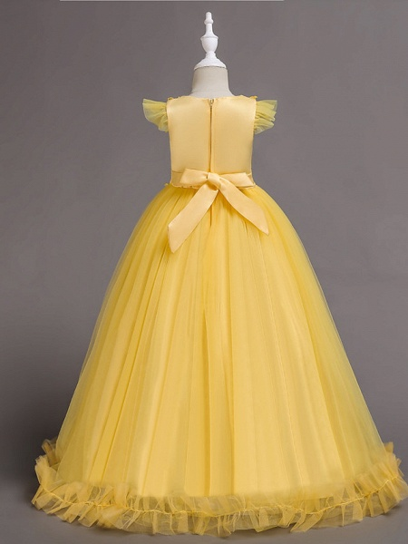 A-Line Floor Length Wedding / Party / Pageant Flower Girl Dresses - Tulle / Polyester Short Sleeve Jewel Neck With Bow(S) / Butterfly_4