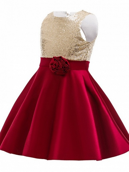 Ball Gown Knee Length Wedding / Party Flower Girl Dresses - Satin Chiffon Sleeveless Jewel Neck With Appliques / Paillette_2