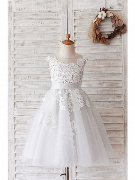 Ball Gown Knee Length Wedding / Birthday Flower Girl Dresses - Lace / Tulle Sleeveless Jewel Neck With Belt / Buttons_5