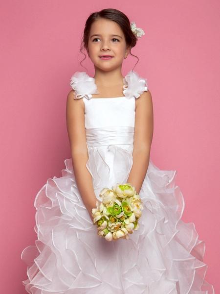 Princess / A-Line Floor Length Organza / Satin Sleeveless Straps With Sash / Ribbon / Ruched / Cascading Ruffles_4