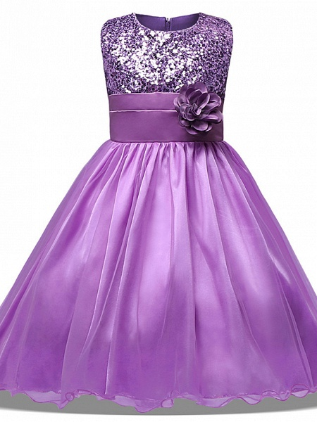 Princess Midi Wedding / Party / Pageant Flower Girl Dresses - Tulle Sleeveless Jewel Neck With Belt / Bow(S) / Appliques_8
