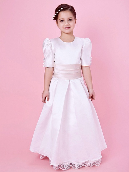 Princess / A-Line Floor Length First Communion / Wedding Party Lace / Satin Short Sleeve Jewel Neck With Lace / Sash / Ribbon / Buttons / Spring / Fall / Winter_1