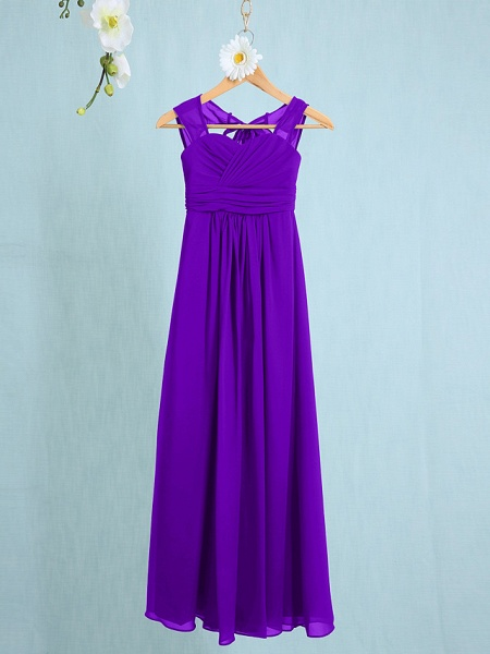 Sheath / Column Straps Ankle Length Chiffon Junior Bridesmaid Dress With Ruched / Natural_34