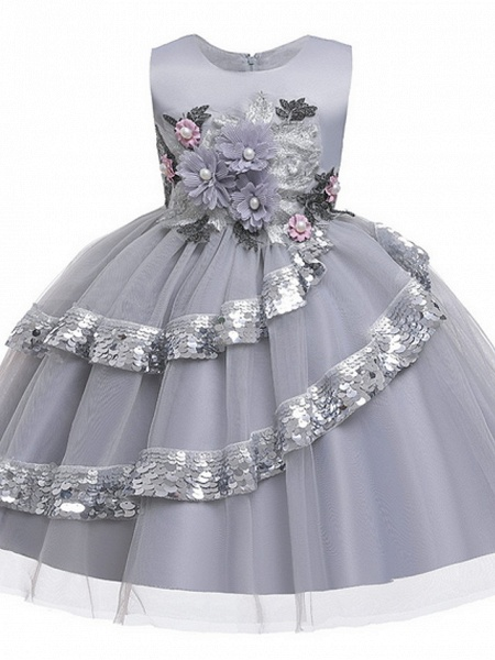 Ball Gown Knee Length Party / Pageant Flower Girl Dresses - Lace / Tulle Sleeveless Jewel Neck With Tier / Paillette_4