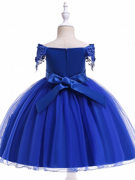 Princess Above Knee Wedding / Party / Pageant Flower Girl Dresses - Satin / Tulle Short Sleeve Off Shoulder With Lace / Beading / Appliques_18