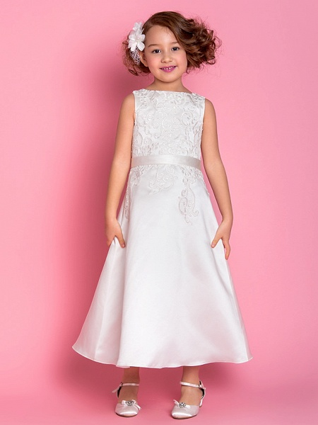 A-Line Tea Length Wedding / First Communion Flower Girl Dresses - Satin Sleeveless Scoop Neck With Bow(S) / Appliques / Spring / Summer / Fall / Winter_1