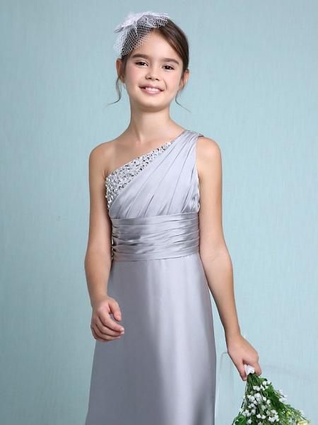 Sheath / Column One Shoulder Floor Length Chiffon Satin Junior Bridesmaid Dress With Ruched / Side Draping / Natural_8