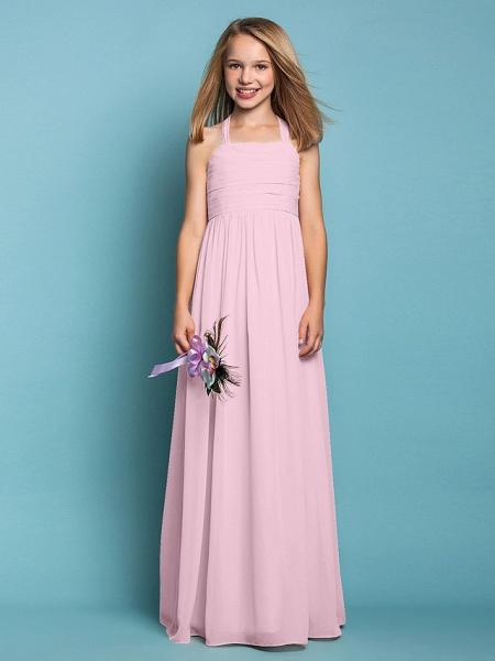 Sheath / Column Halter Neck Floor Length Chiffon Junior Bridesmaid Dress With Ruched / Spring / Summer / Fall / Apple / Hourglass_10