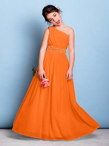 A-Line One Shoulder Floor Length Chiffon Junior Bridesmaid Dress With Sash / Ribbon / Beading / Side Draping / Natural_16