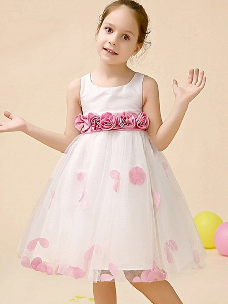 A-Line Tea Length Event / Party / Birthday Flower Girl Dresses - Poly Sleeveless Jewel Neck With Flower_2