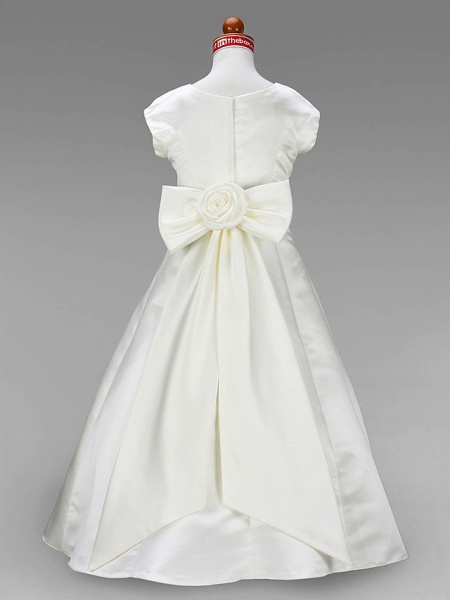 Princess / A-Line Floor Length First Communion / Wedding Party Satin Short Sleeve Jewel Neck With Sash / Ribbon / Bow(S) / Spring / Summer / Fall / Winter_8