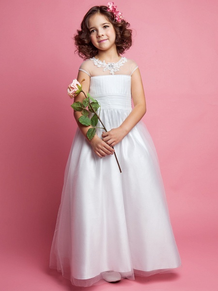 Princess / A-Line Floor Length Wedding / First Communion Tulle Sleeveless Jewel Neck With Ruched / Beading / Appliques_2
