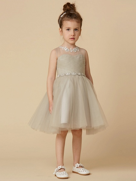 Princess Knee Length Pageant Flower Girl Dresses - Satin Sleeveless Scoop Neck With Sash / Ribbon / Criss Cross / Appliques_1