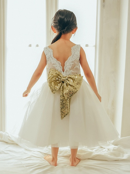 Ball Gown Tea Length Wedding / First Communion / Birthday Flower Girl Dresses - Lace / Tulle Sleeveless Jewel Neck With Bows / Belt_2