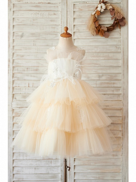 Ball Gown Knee Length Wedding / Birthday Flower Girl Dresses - Tulle Sleeveless Jewel Neck With Feathers / Fur / Lace / Beading_1