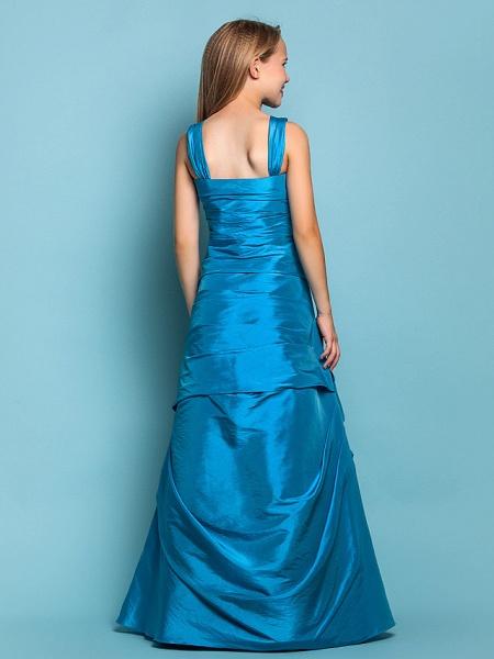 Princess / A-Line Straps Floor Length Taffeta Junior Bridesmaid Dress With Side Draping / Spring / Summer / Fall / Apple / Hourglass_4