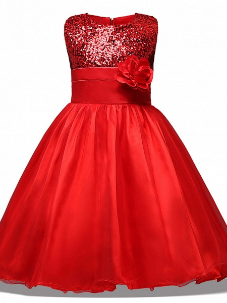 Princess Midi Wedding / Party / Pageant Flower Girl Dresses - Tulle Sleeveless Jewel Neck With Belt / Bow(S) / Appliques_3