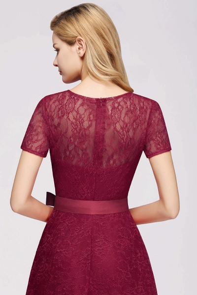 Short Sleeves V-neck Lace Dresses with Bow Sash_8