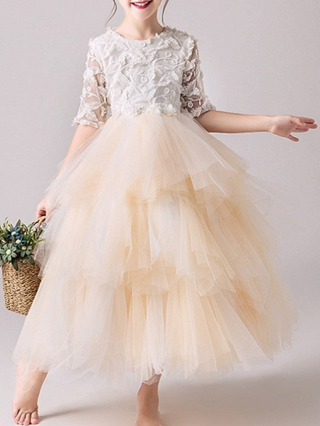 Ball Gown Ankle Length Pageant Flower Girl Dresses - Tulle Half Sleeve Jewel Neck With Tier / Appliques_1