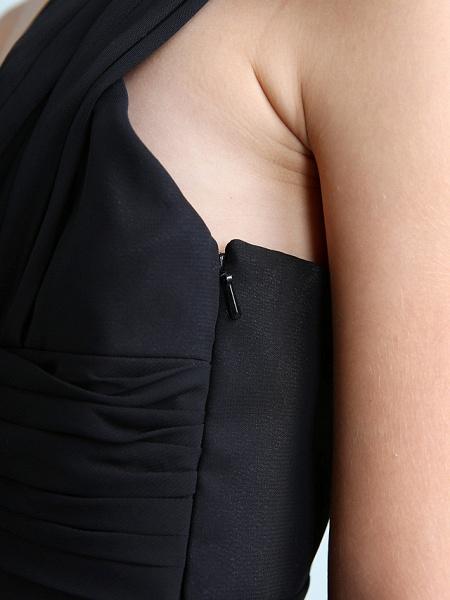 Sheath / Column One Shoulder Floor Length Chiffon Junior Bridesmaid Dress With Side Draping / Natural_11