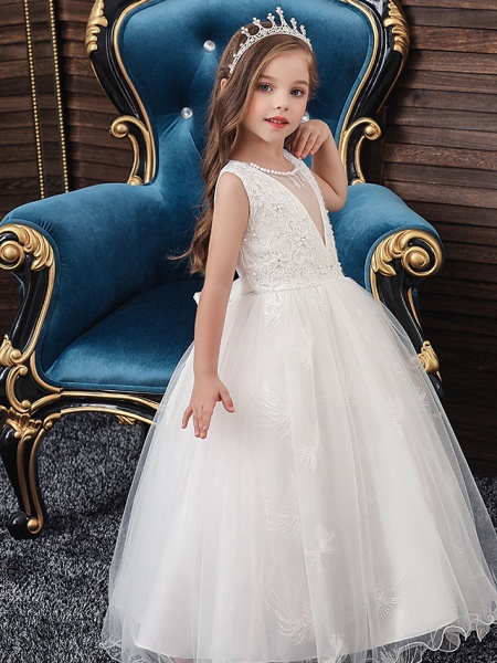 A-Line Medium Length Wedding / Party / First Communion Flower Girl Dresses - Tulle / Matte Satin / Poly&Cotton Blend Sleeveless Jewel Neck With Lace / Beading / Solid_3