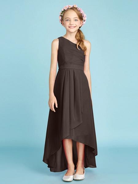 A-Line One Shoulder Asymmetrical Chiffon Junior Bridesmaid Dress With Sash / Ribbon / Bow(S) / Side Draping / Natural_27