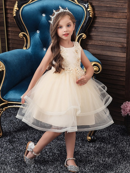 A-Line Knee Length Wedding / Party / Pageant Flower Girl Dresses - Tulle / Matte Satin / Poly&Cotton Blend Sleeveless Jewel Neck With Beading / Solid_3