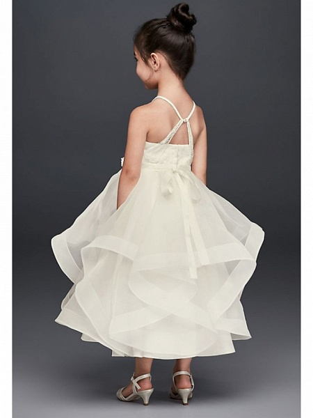 A-Line Ankle Length Wedding Flower Girl Dresses - Tulle Sleeveless Spaghetti Strap / Jewel Neck With Tier / Solid_2