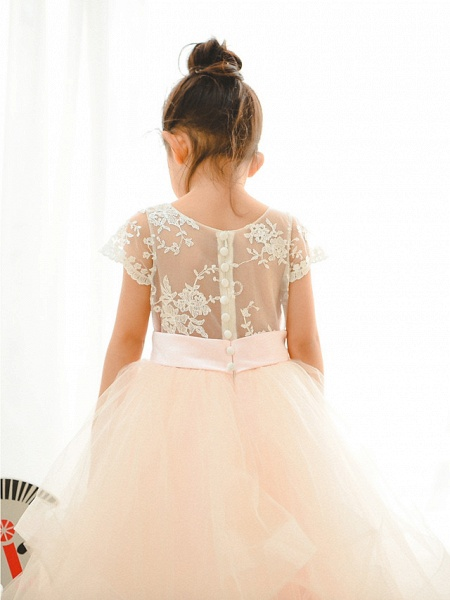 Ball Gown Floor Length Wedding / Birthday / Pageant Flower Girl Dresses - Lace / Tulle Short Sleeve Jewel Neck With Belt / Buttons_3