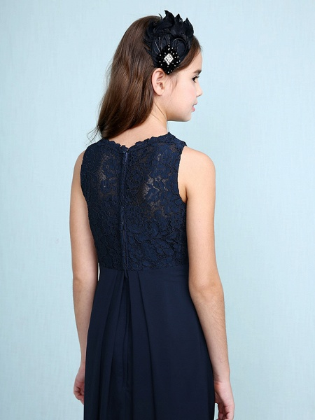 Sheath / Column Scoop Neck Floor Length Chiffon / Lace Junior Bridesmaid Dress With Lace / Natural_8