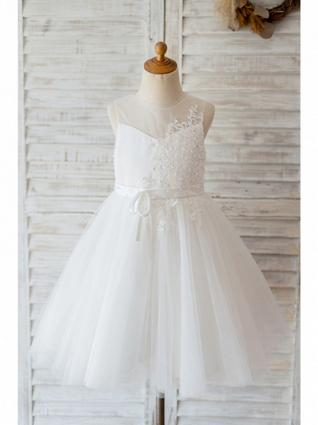 Ball Gown Knee Length Wedding / Birthday Flower Girl Dresses - Lace / Tulle Sleeveless Jewel Neck With Belt / Bow(S) / Buttons_1