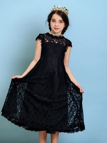 Princess / A-Line Jewel Neck Tea Length Lace Junior Bridesmaid Dress With Pleats / Natural_9