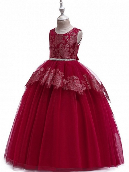 Princess Round Floor Length Cotton Junior Bridesmaid Dress With Bow(S) / Tier / Appliques_6
