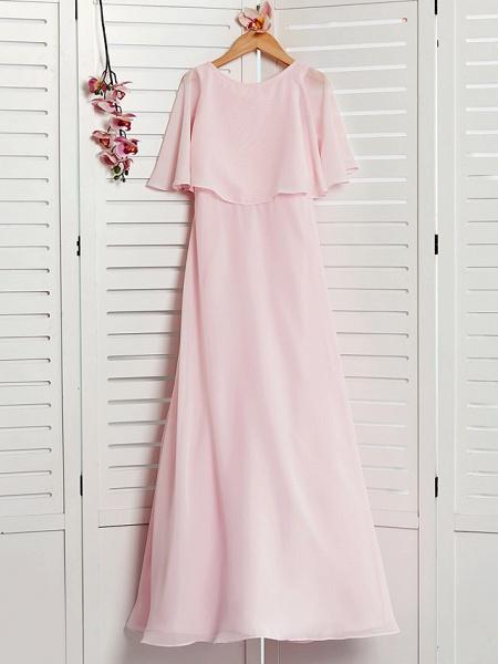 A-Line Jewel Neck Maxi Chiffon Junior Bridesmaid Dress With Ruffles_3