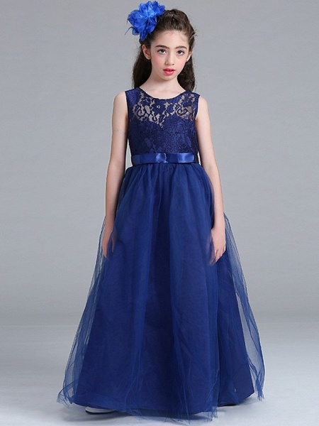 Princess / A-Line Round Floor Length Lace / Tulle Junior Bridesmaid Dress With Bow(S)_2